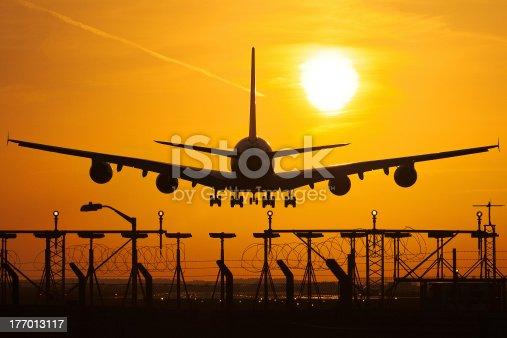 A380 Airbus at sun set