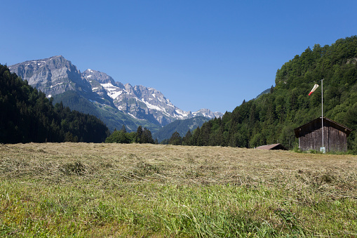 Landing spot for paragliders between Champery and Val de Illiez (Switzerland). On the right you see a windsock