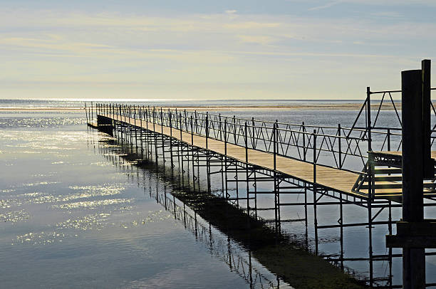 Landing stage at Baltic Sea stock photo