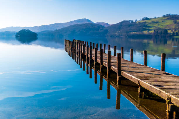 Landing Stage on Coniston Water, English Lake District, Cumbria, UK Wooden landing stage on Coniston Water. northwest england stock pictures, royalty-free photos & images