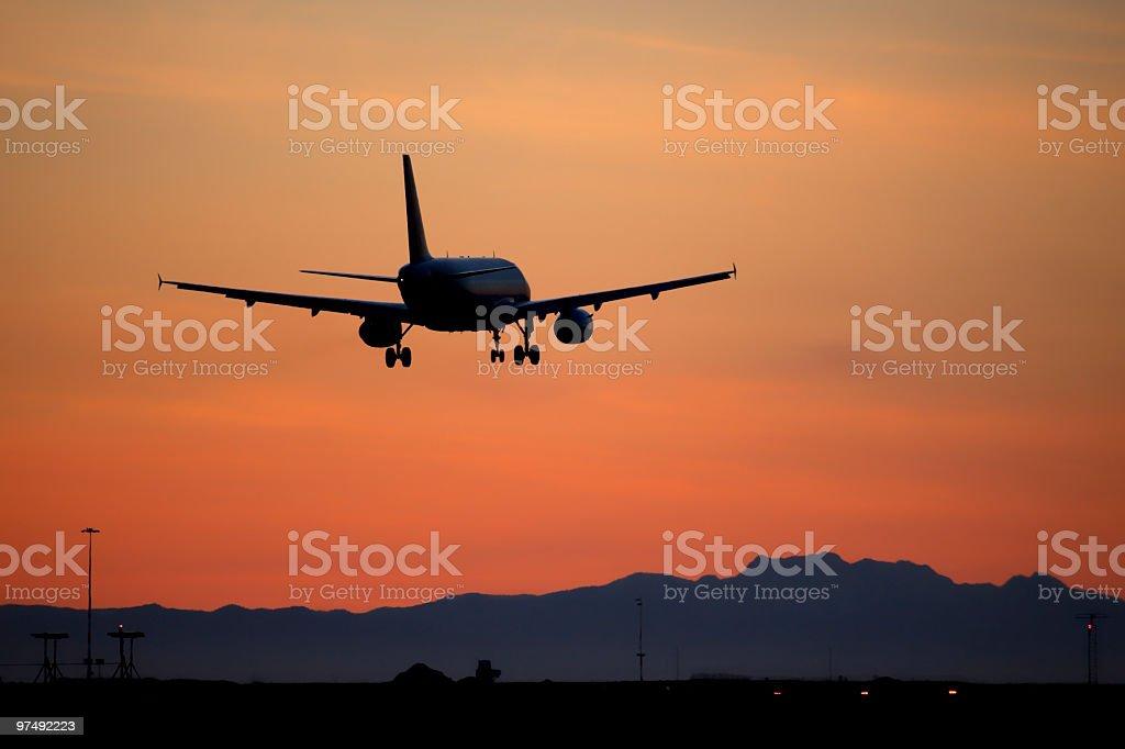 Landing sunset royalty-free stock photo