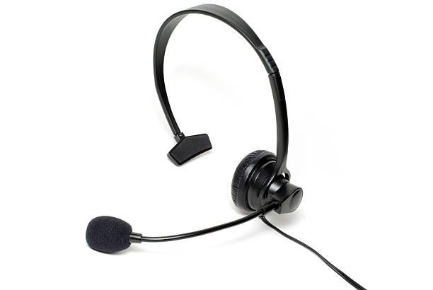 Landline Telephone / Phone Headset Isolated on a White Background stock photo