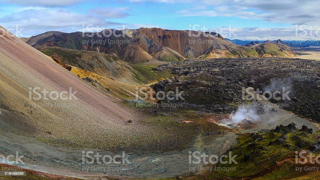 Landmannalaugar Landmannalaugar as seen from the Laugavegur hiking trail. Extreme Terrain Stock Photo