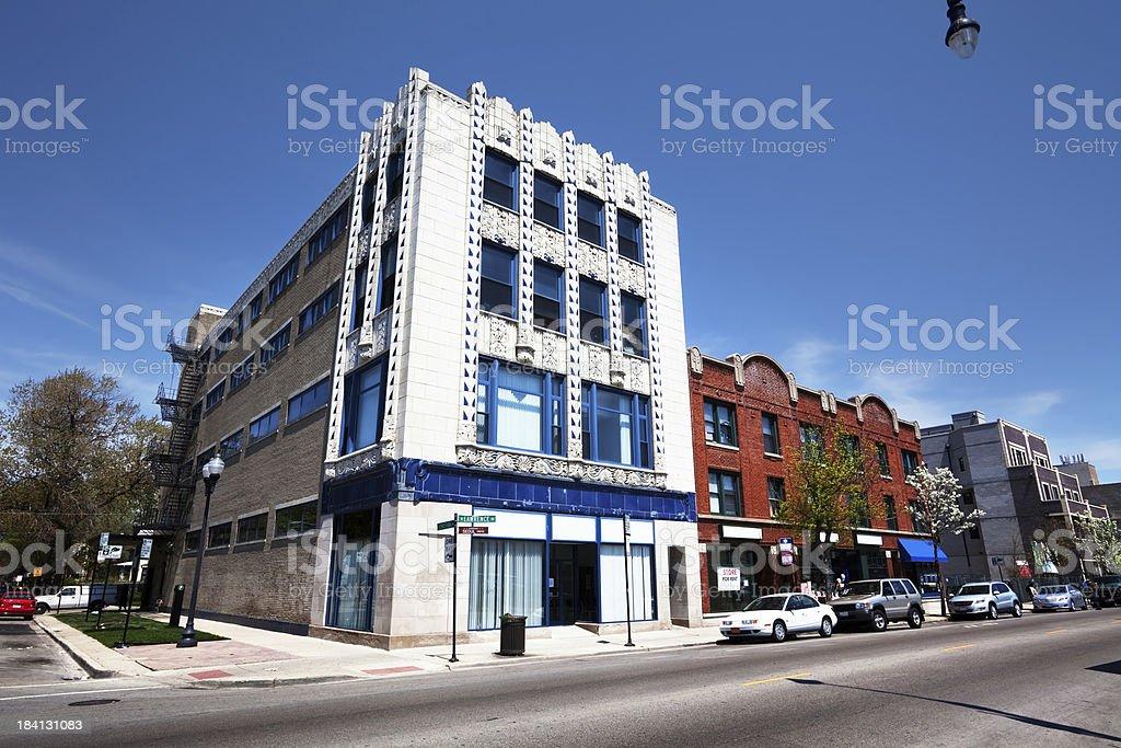 Landmark Art Moderne  Building in Albany Park, Chicago royalty-free stock photo