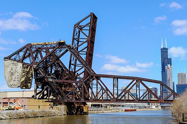 Landmark Bascule Railway Bridge in Chicago  bascule bridge stock pictures, royalty-free photos & images