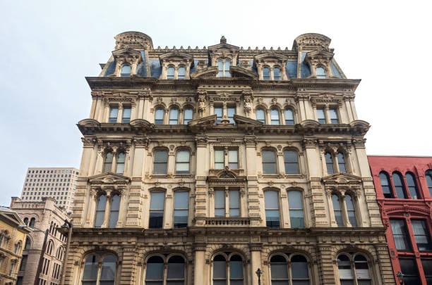 Landmark Building Facade in Milwaukee Historic District stock photo