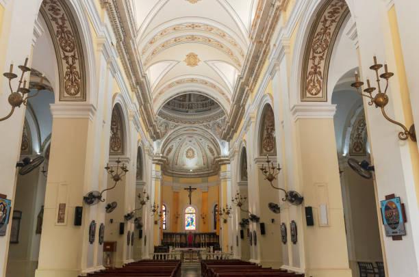 Landmark Cathedral Interior in San Juan stock photo