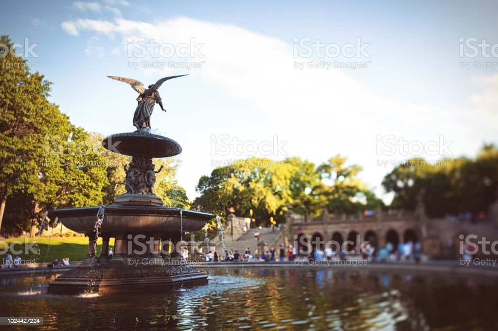 landmark fountain in Central Park NYC stock photo
