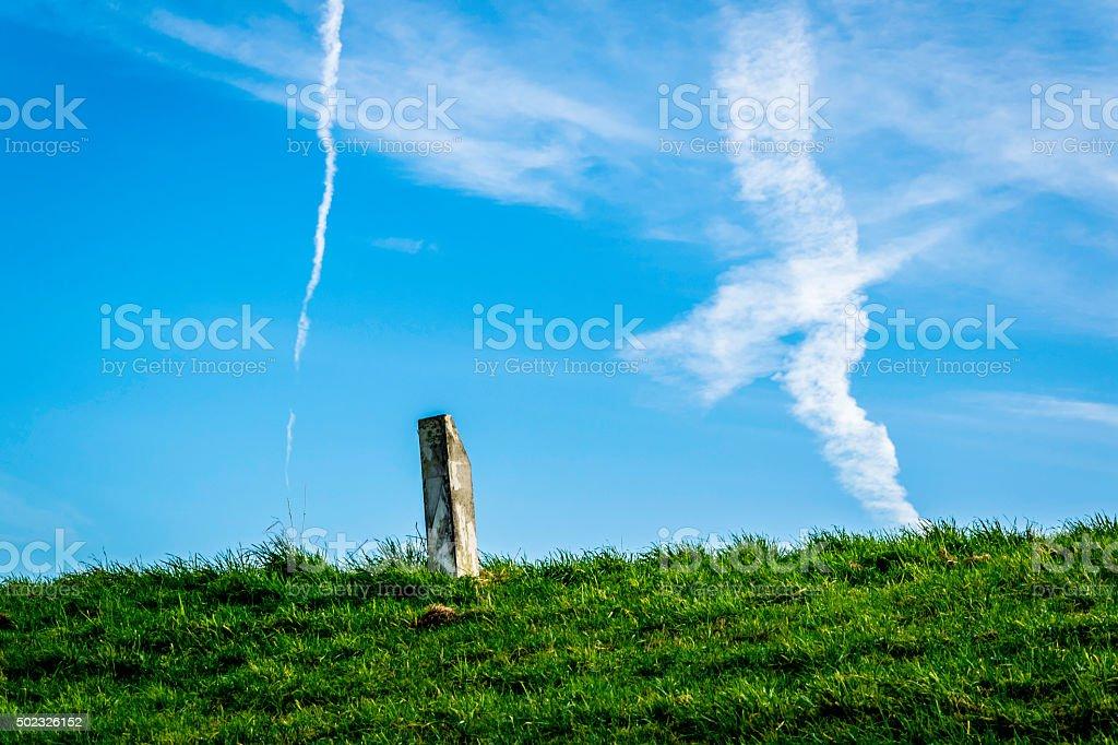 Landmark in a  meadow stock photo