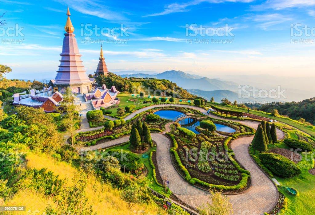 Landmark landscape pagoda in doi Inthanon national park at chiang mai Thailand stock photo