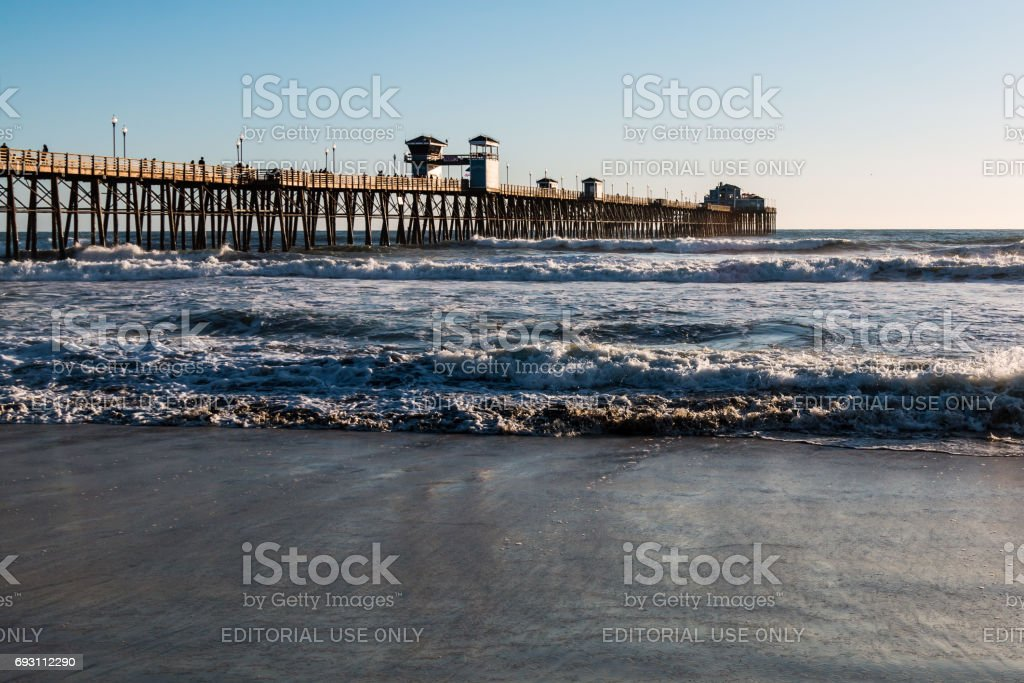 Landmark Oceanside Fishing Pier in San Diego County stock photo