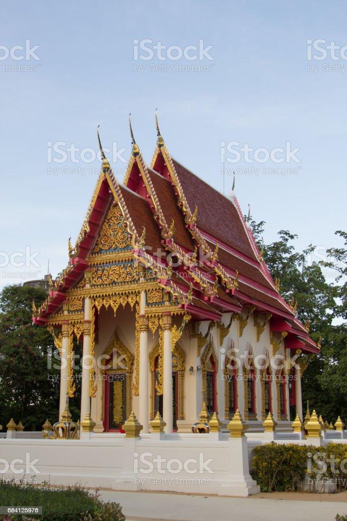 Landmark of Buddhist temple at Wat Huay Mongkol temple, Thailand foto stock royalty-free