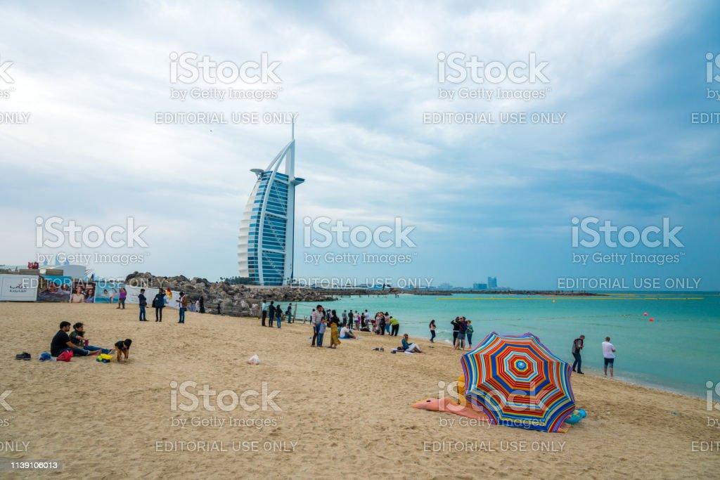 Dubai, UAE - March 16, 2019 - Landmark of Dubai UAE - the famous Burj...