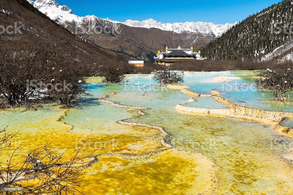 Landmark of Huanglong, the world heritage, in winter season. stock photo