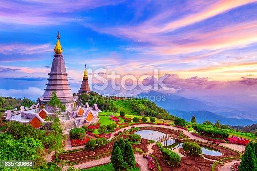 istock Landmark pagoda in doi Inthanon national park at Chiang mai. 635730668