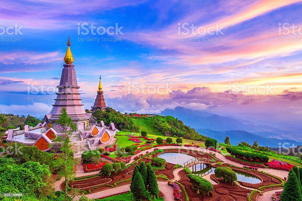 Landmark pagoda in doi Inthanon national park at Chiang mai. stock photo