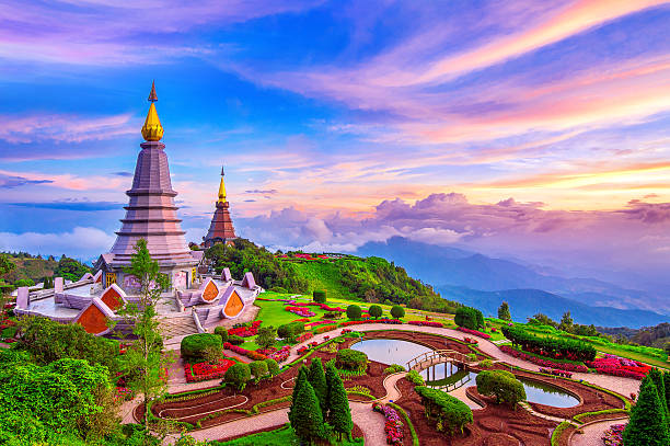 Landmark pagoda in doi Inthanon national park at Chiang mai. stock photo