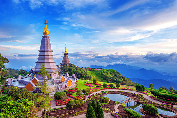 Landmark pagoda in doi Inthanon national park at Chiang mai. 스톡 사진