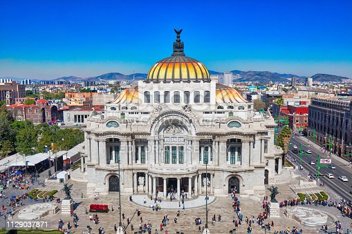 Mexico City, Mexico-2 December, 2018: Landmark Palace of Fine Arts (Palacio de Bellas Artes) in Alameda Central Park near Mexico City Historic Center (Zocalo)