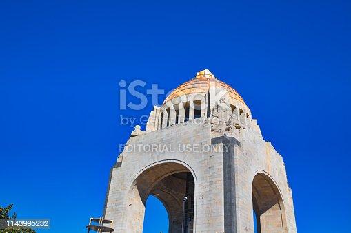 Mexico, Mexico City-2 December, 2018: Landmark Revolution Monument (Monumento a la Revolucion) near Mexico City financial center and Paseo de la Reforma