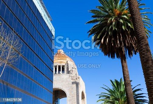 Mexico, Mexico City-2 September, 2019: Landmark Revolution Monument (Monumento a la Revolucion) near Mexico City financial center and Paseo de la Reforma
