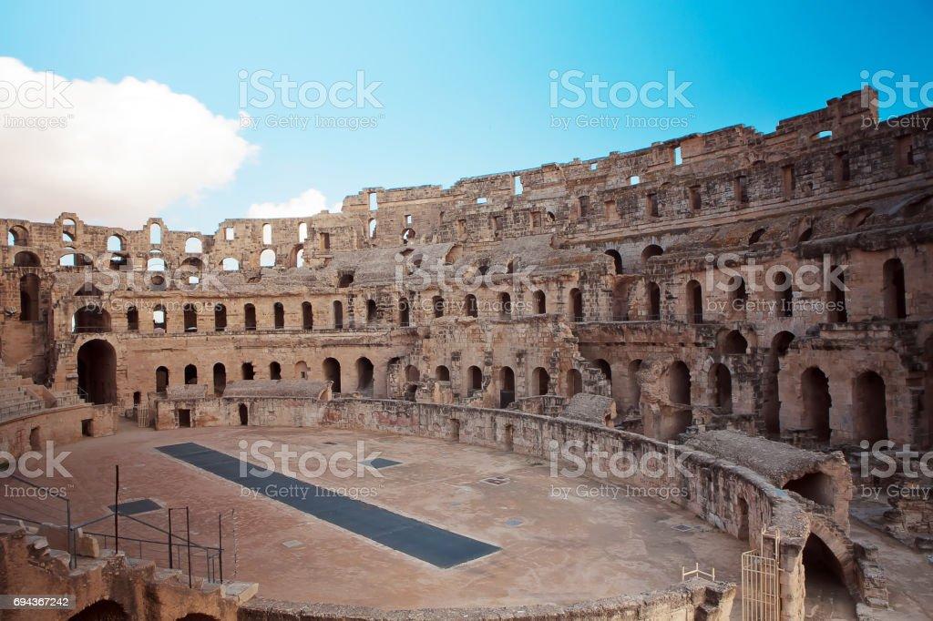 Landmark Roman amphitheater in El Jem stock photo