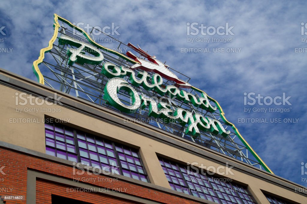 Landmark stag sign on top of building in downtown Portland's Old Town neighborhood. stock photo