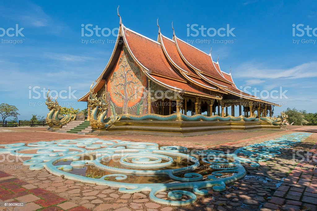 Landmark temple Sirindhorn Wararam Phuproud stock photo