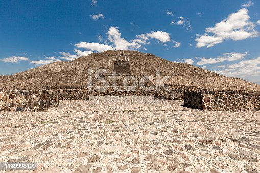 Landmark Teotihuacan pyramids complex located in Mexican Highlands and Mexico Valley close to Mexico City