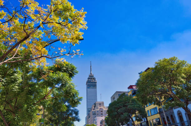Landmark tower Torre Latinoamericana near the Alameda Central Park Landmark tower Torre Latinoamericana near the Alameda Central Park alameda california stock pictures, royalty-free photos & images