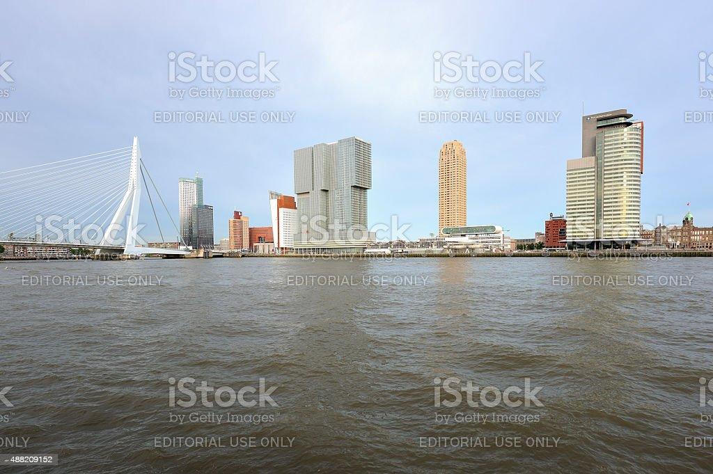 Landmarks along the river Nieuwe Maas in Rotterdam stock photo