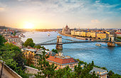 View of Budapest landmarks at beautiful sunset