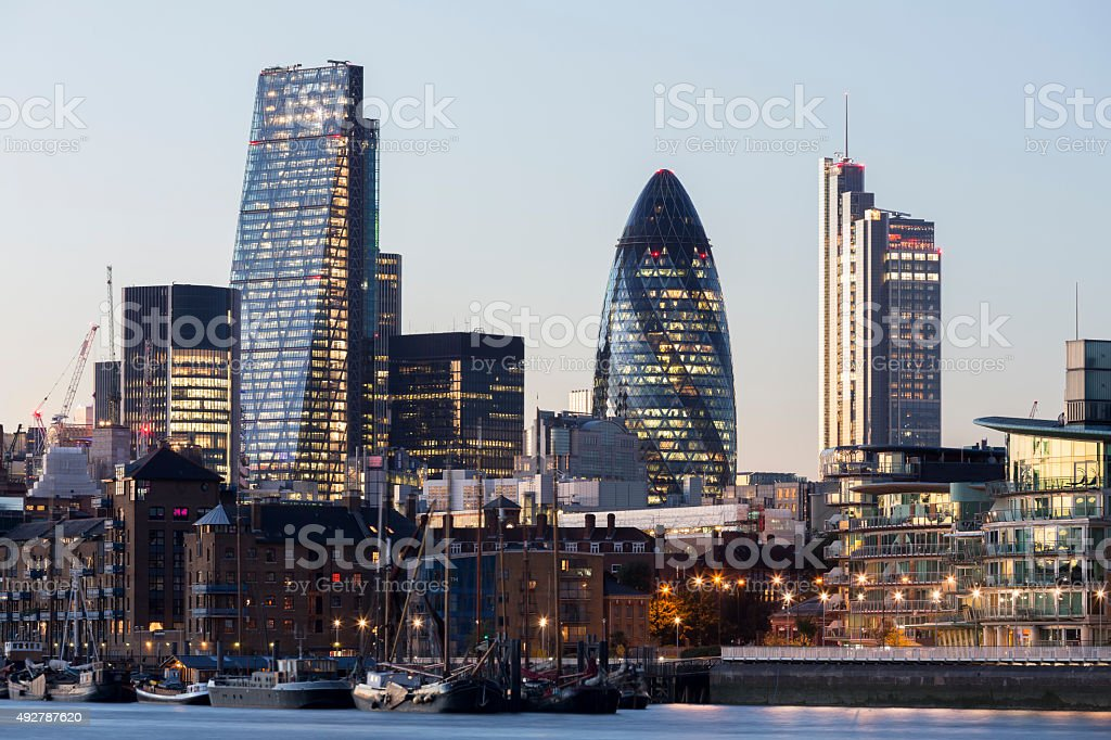 Landmarks of City of London at dusk stock photo