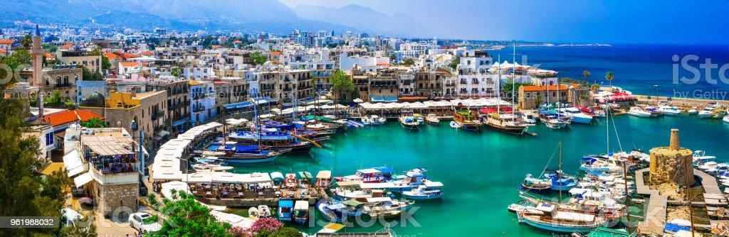 Landmarks of Cyprus - beautiful Kyrenia in northen turkish part stock photo