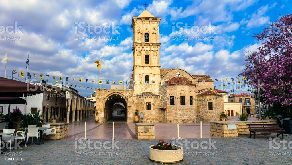 Wahrzeichen Zyperns-Byzantin Kirche Saint Lazaros in der Stadt Larnaka. - Lizenzfrei Alt Stock-Foto