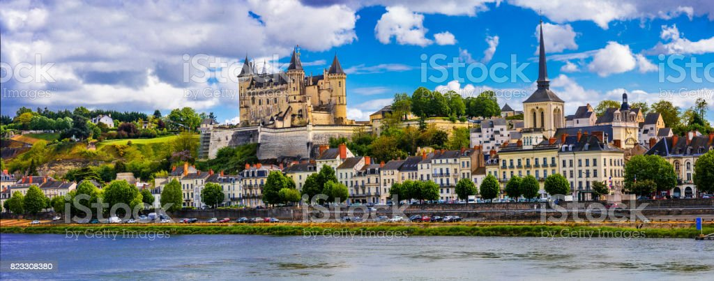 Landmarks of France-panorama of Saumur town, Loire valley stock photo