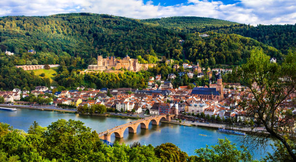 Landmarks of Germany - beautiful Heidelberg town university city Heidelberg in  Baden-Wurttemberg Land european culture stock pictures, royalty-free photos & images