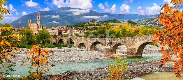 istock landmarks of Italy . Bobbio - beautiful ancient town with impressive roman bridge, Emilia Romagna 1248963294