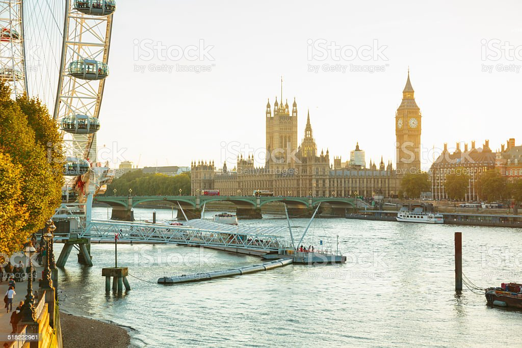 Landmarks of London, UK Houses of Parliament, Big Ben and London Eye in London, England. Architecture Stock Photo
