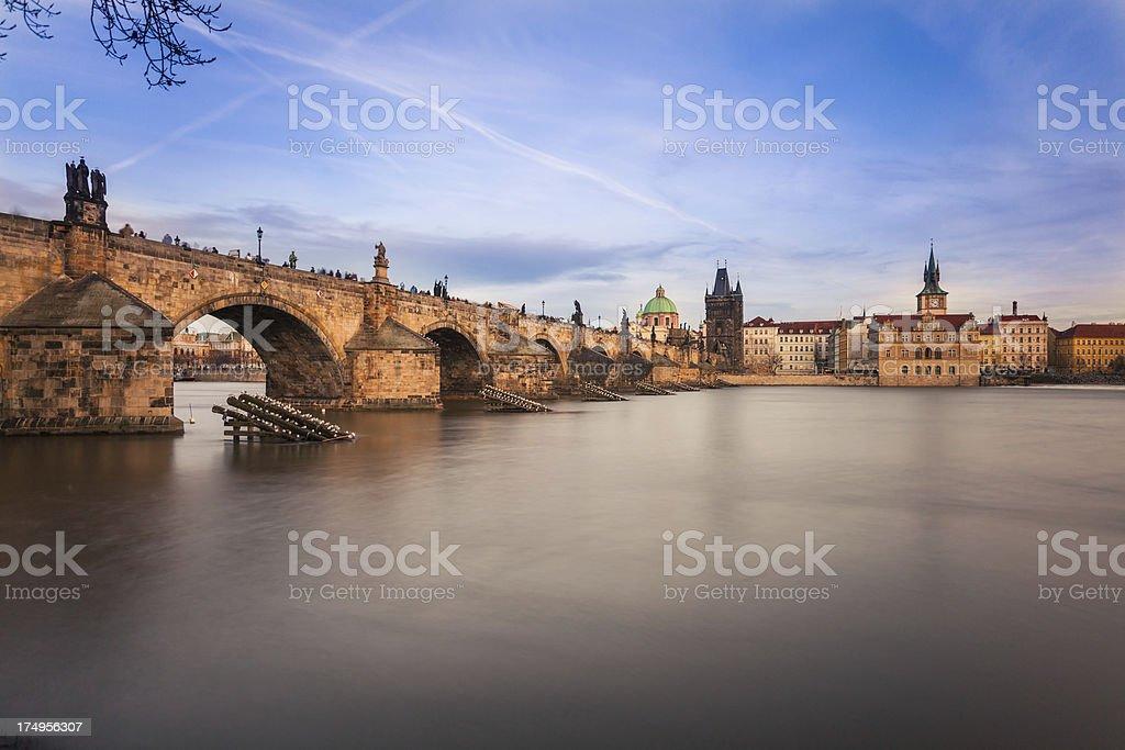 Landmarks of Prague: Castle and Charles Bridge royalty-free stock photo