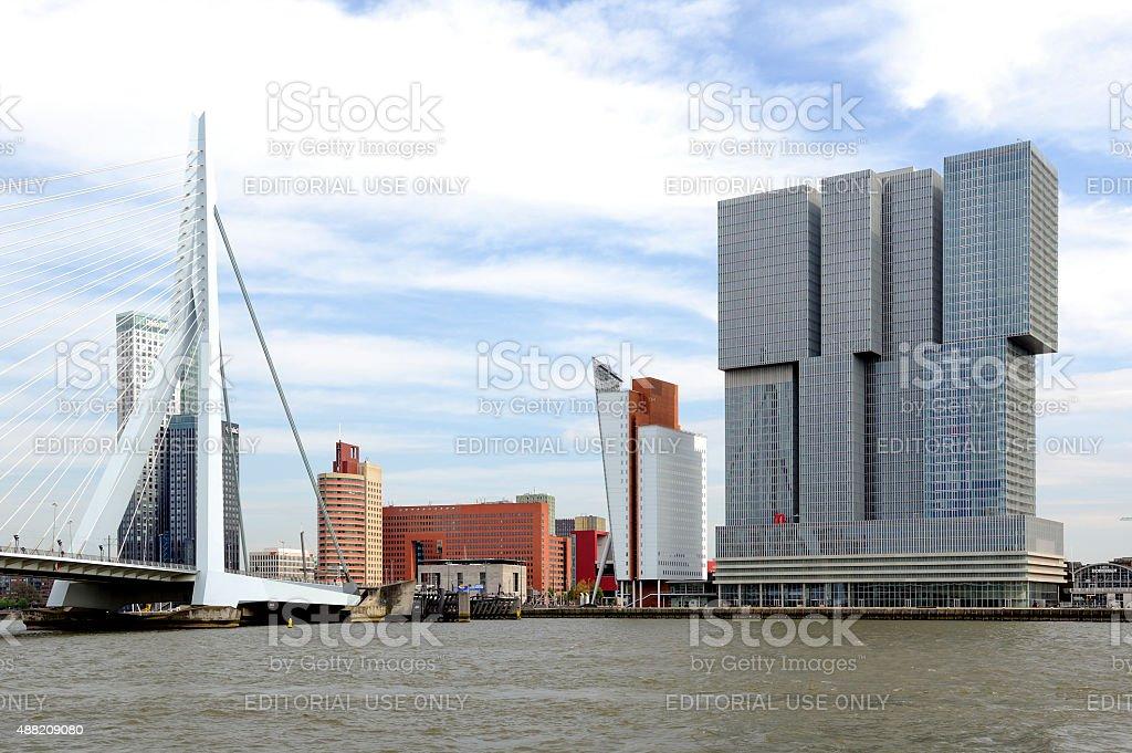 Landmarks of Rotterdam on Kop van Zuid stock photo