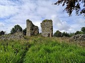 A view of the ruins of Lochore castle in the Kingdom of Fife, Scotland.