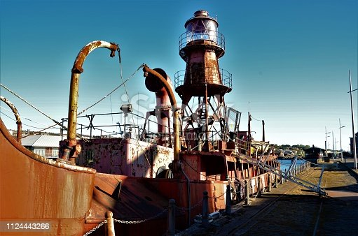 A view of a rusting lightship now moored in the harbour at Dundee