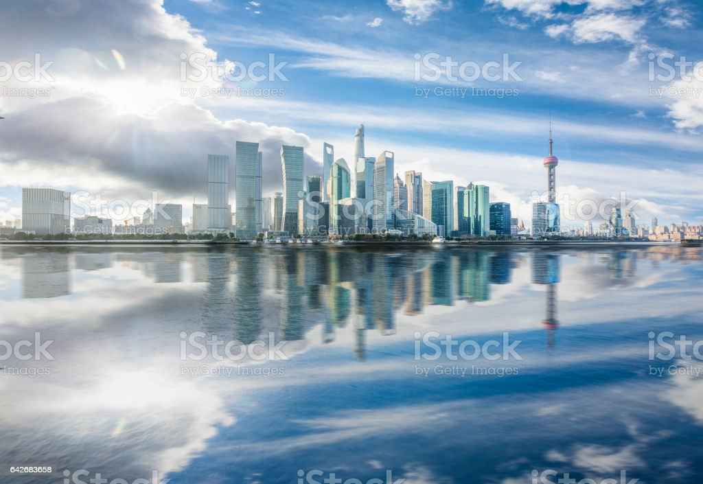 landmarks of Shanghai along Huangpu river stock photo