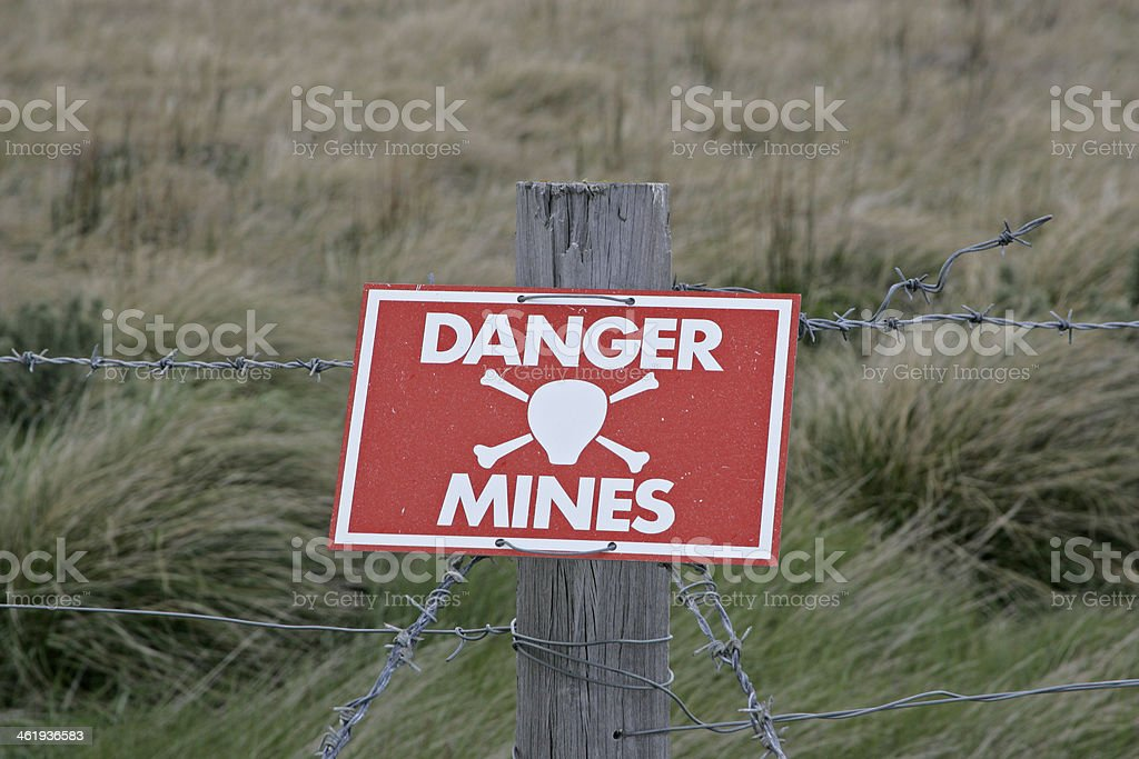 Landmines sign stock photo