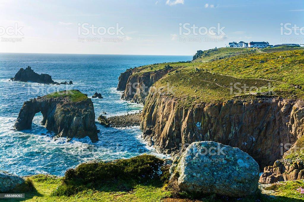 lands end Cornwall coastline stock photo