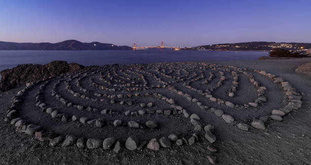 Lands End Labyrinth and the Golden Gate Bridge with Autumn Blue Skies. stock photo