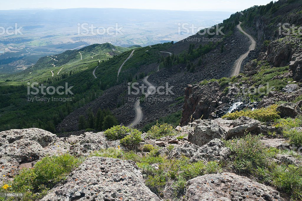 Lands End Road from Grand Mesa stock photo