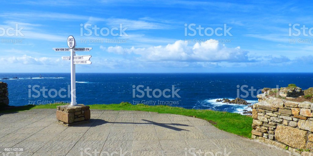 Lands end sign in Cornwall stock photo