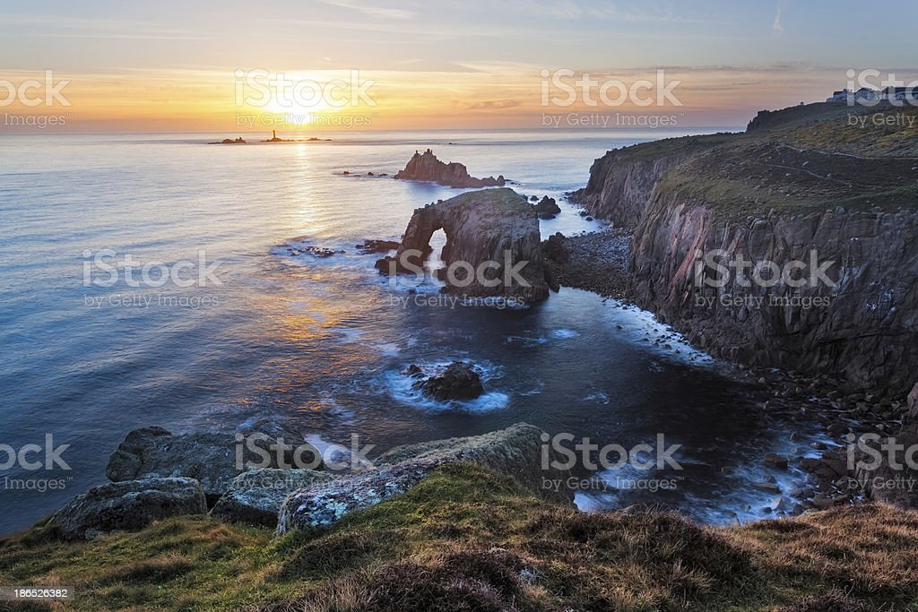 Lands End Sunset Cornwall stock photo